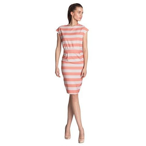 Sukienka ołówkowa - pomarańcz/paski - S120, ołówkowa