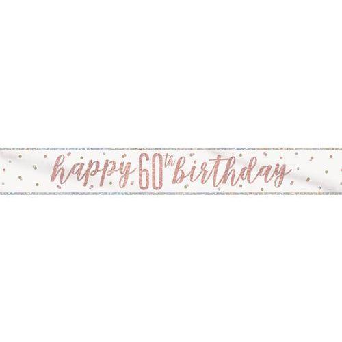 Unique Baner happy birthday różowe złoto na 60 urodziny - 274 cm - 1 szt.