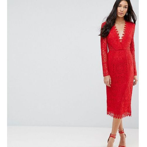 Asos tall long sleeve lace midi pencil dress - red