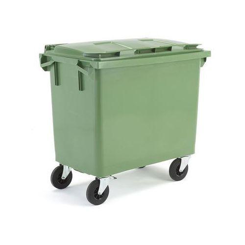 Array Zielony kontener na odpadki o poj. 660 l - 1255x770x1210mm