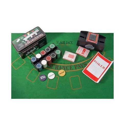 Zestaw do Pokera Texas + Tasowarka + 200 Żetonów + Kości i Akcesoria!!, 5907773415481