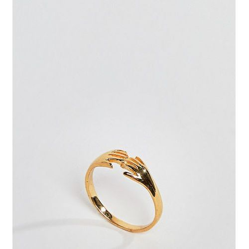 Asos curve Asos design curve ring in gold plated sterling silver in vintage style hand design - gold