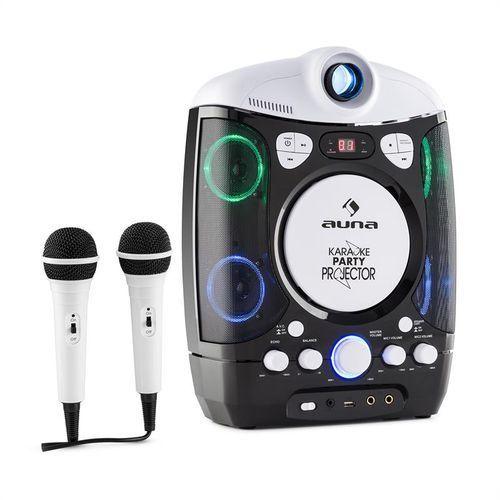 karaprojectura zestaw karaoke z projektorem gra świateł led usb czarno-szary marki Auna