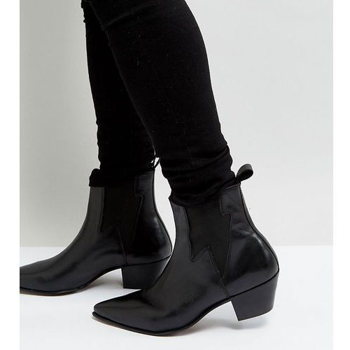 Asos design wide fit cuban heel boots in black leather with lightening detail - black