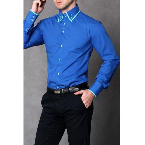 4112-2 Koszula męska slim fit - niebieski - sprawdź w MODADLAMNIE.PL