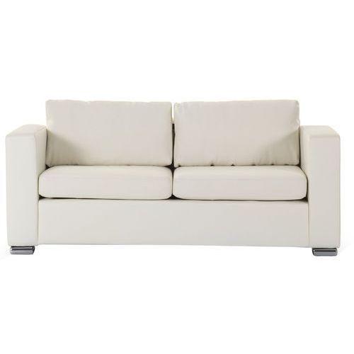 Skórzana sofa trzyosobowa beżowa - kanapa - HELSINKI, kolor beżowy