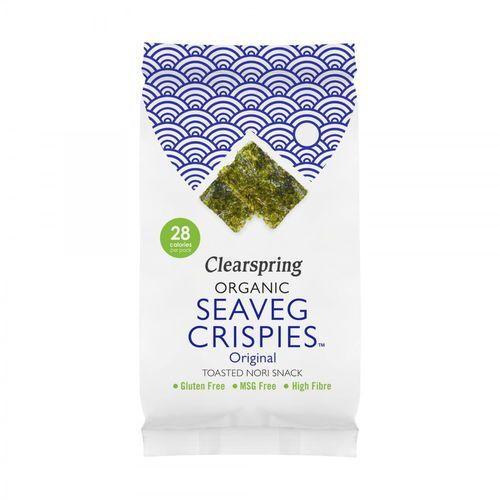 Chipsy z alg morskich naturalne seaveg crispies bezglutenowe bio 4 g marki Clearspring