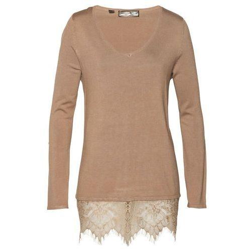 Sweter z koronką bonprix wielbłądzia wełna