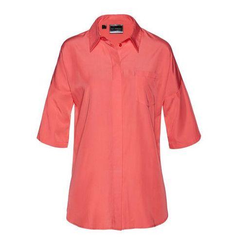 Shirt z koronką, krótki rękaw bonprix niebieski mineralny, kolor różowy