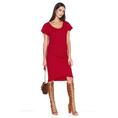 a4bd4df021 Czerwona Asymetryczna Sukienka z Marszczeniem na Boku