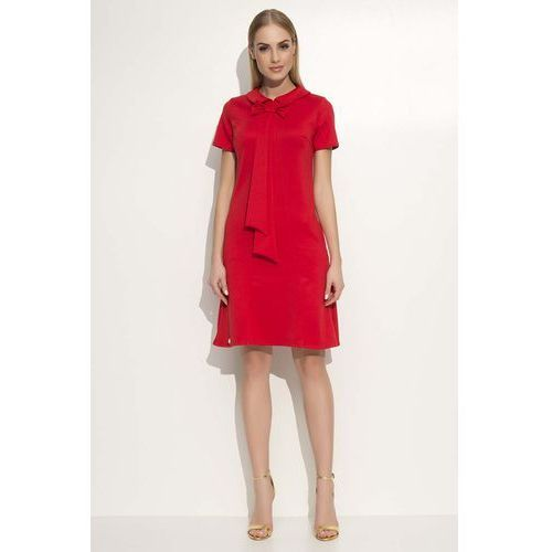 Czerwona Sukienka Trapezowa Midi z Kołnierzykiem i Krawatem, DM351re
