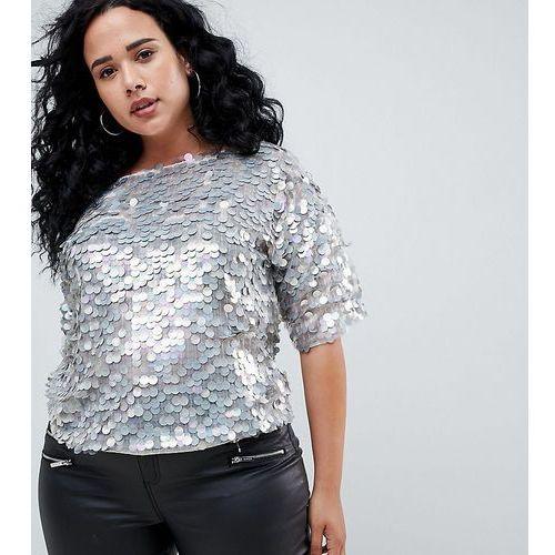 Asos design curve oversized t-shirt with all over disc sequins - grey marki Asos curve