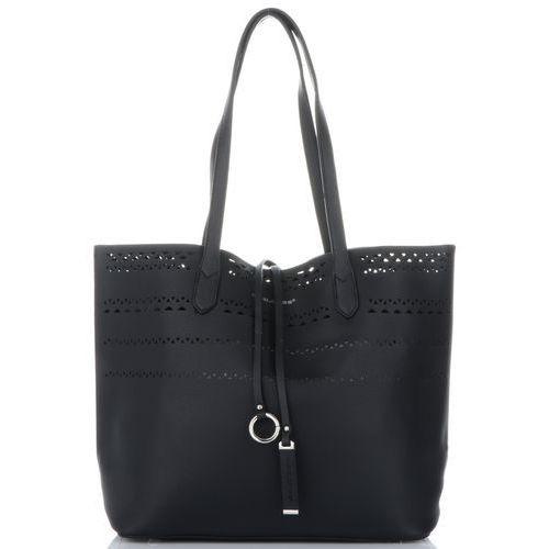 08e01c1e8c4b2 David jones Uniwersalne ażurowe torebki damskie shopper z kosmetyczką  czarny (kolory) 119,00 zł Stylowa torebka damska w rozmiarze XL to sugestia  ...