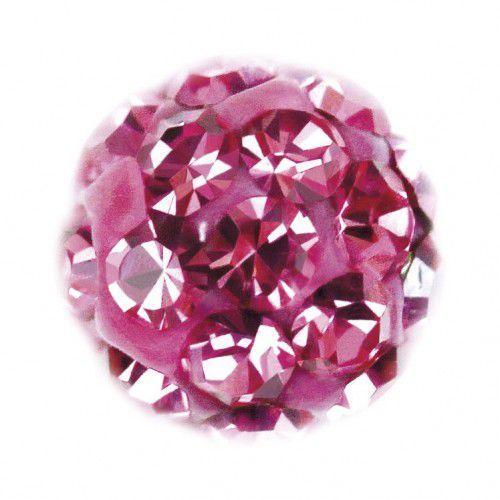 Kolczyki 7522-0310 Kulka z różowymi kryształkami