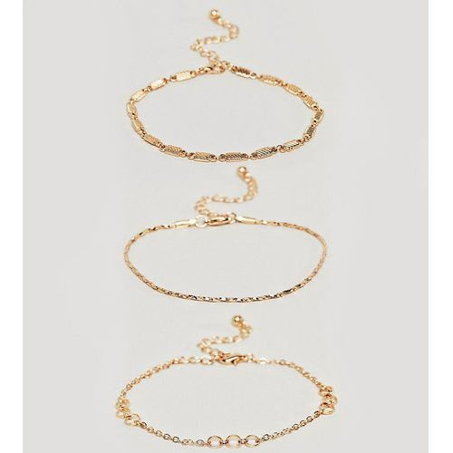 Asos curve Asos design curve bracelet pack of 3 with cut link and twist chain detail in gold - gold