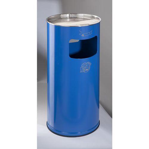 Var fahrzeug- und apparatebau Popielniczka combi, okrągła, blacha stalowa, wys. 700 mm, Ø 320 mm, niebieska ge
