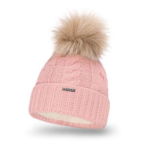 Zimowa czapka damska z warkoczem PaMaMi - Pudrowy róż (5902934006934)