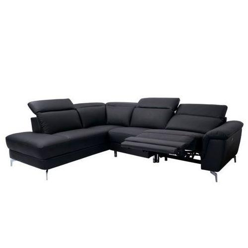 Linea sofa Narożna sofa olbia z elektryczną funkcją relaksu – kolor czarny – narożnik lewy
