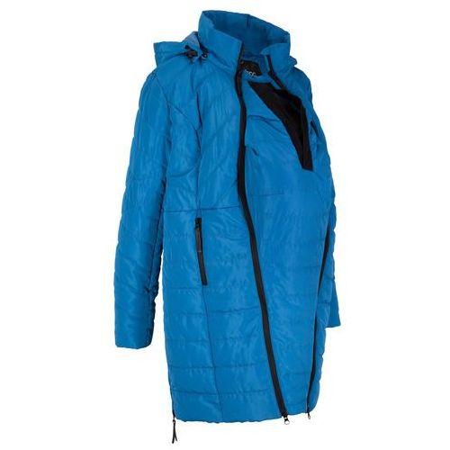 Długa kurtka pikowana ciążowa i z wstawką na nosidełko bonprix lazurowy, kurtka