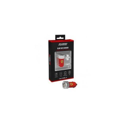 Ferrari Scuderia Ładowarka samochodowa 2.1A 2xUSB + kabel Lightning i Dock Connector iPhone, iPad (czerwony) (3700740319512)