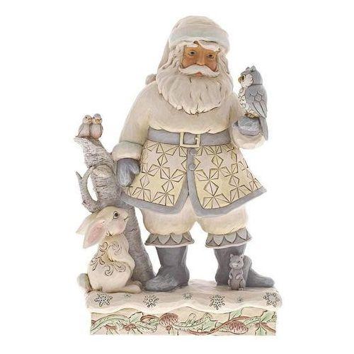 Biały mikołaj przyjaciele na każdą porę roku friends for all seasons (white woodland santa with owl) 6001407 figurka ozdoba świąteczna marki Jim shore
