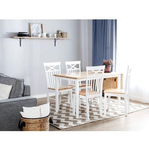 Stół do jadalni drewniany biały 119 x 75 cm 1 przedłużka LOUISIANA (4260586355512)