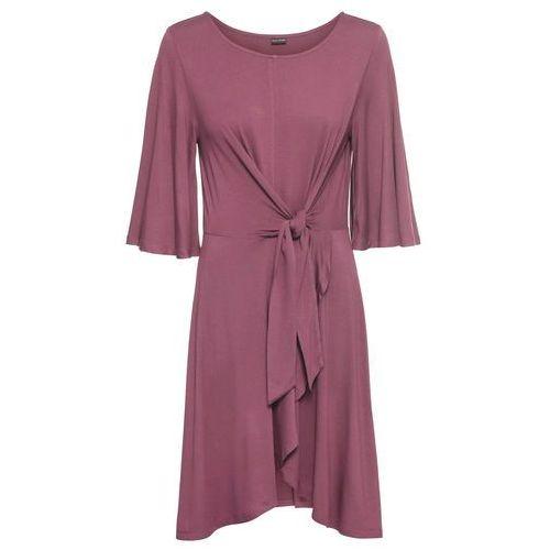 Sukienka z ozdobnym przewiązaniem bonprix ciemny dymny różowy