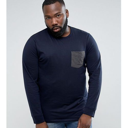 plus long sleeve t-shirt with contrast pocket - navy, French connection