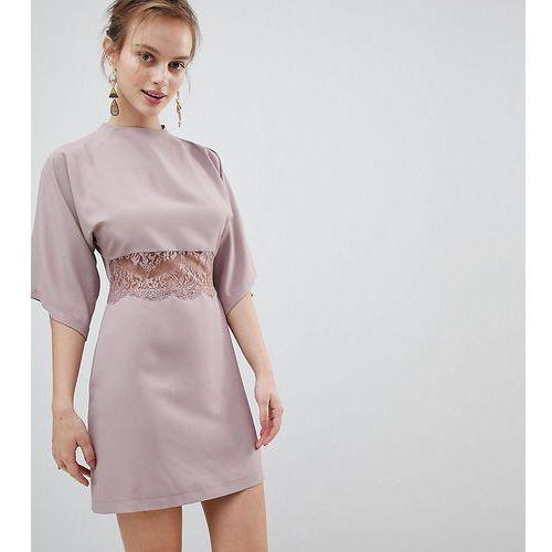 kimono mini dress with lace insert - pink, Asos petite