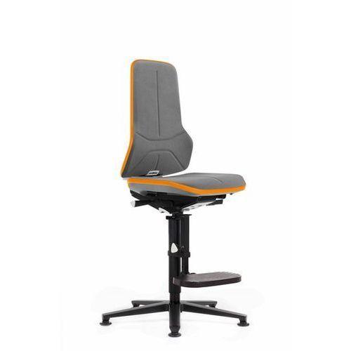 Bimos Obrotowe krzesło do pracy ze szkieletem z aluminium, na ślizgaczach z podnóżkiem