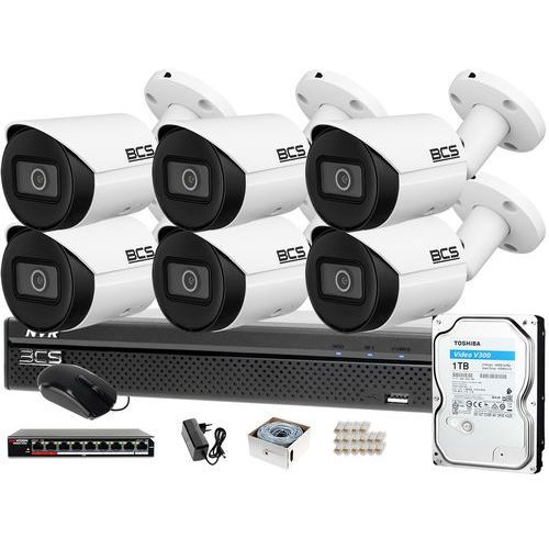 Monitoring IP samodzielny montaż Rejestrator BCS-NVR0801X5ME-II 6x Kamera BCS-TIP3201IR-E-V 1TB