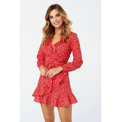 Sukienka Poppy w kolorze czerwonym w kwiaty, w 4 rozmiarach