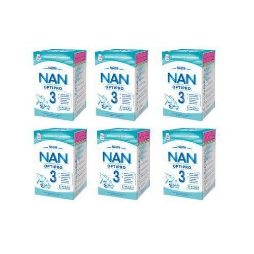 Nan Zestaw 6x nestle optipro 3 800g (2x400g) mleko następne w proszku dla dzieci od 1 roku, karton