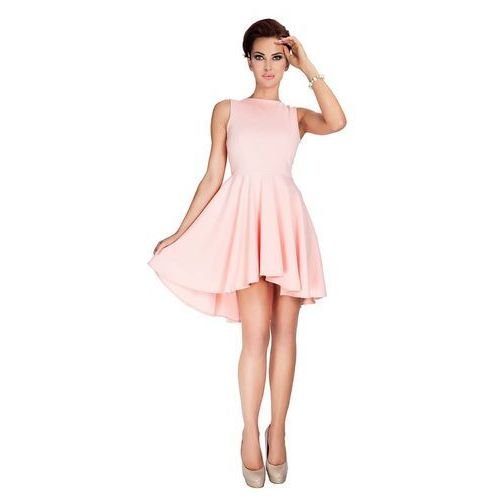 Brzoskwiniowa sukienka elegancka mocno rozkloszowana z wydłużonym tyłem, Numoco, 38-42