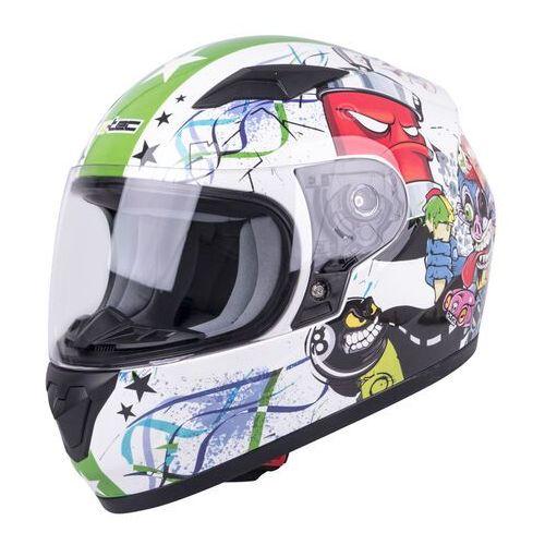 Dziecięcy kask motocyklowy integralny W-TEC FS-815G, Biało-zielony z grafiką, M (49-50) (8596084053114)
