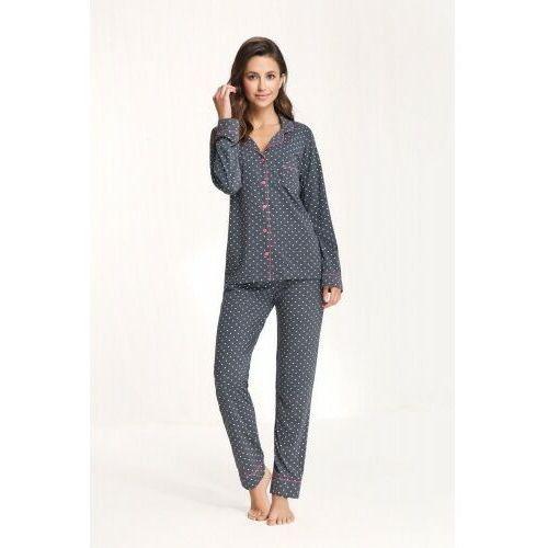 Luna Rozpinana bawełniana piżama damska 611 grafitowa