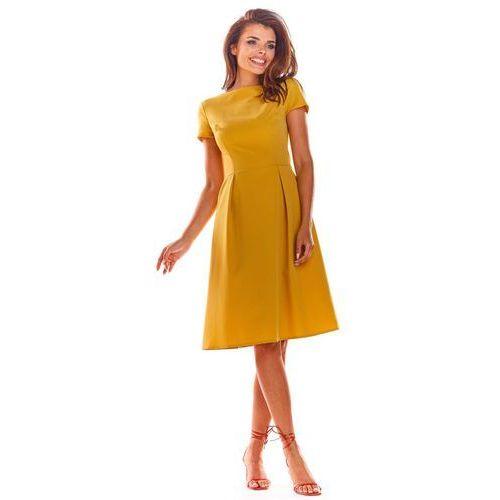 Żółta Klasyczna Lekko Rozkloszowana Sukienka z Krótkim Rękawem