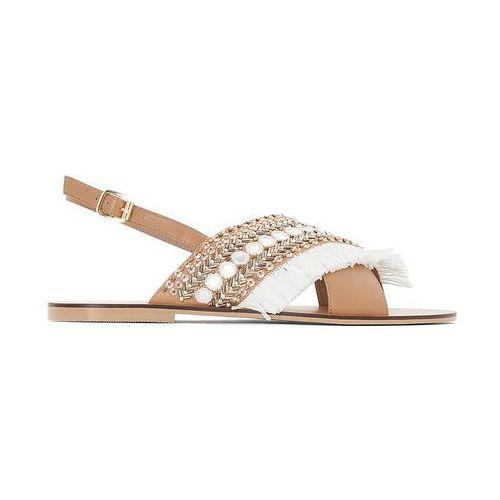 Skórzane sandały z koralikami, szeroka stopa 38-45, kolor brązowy