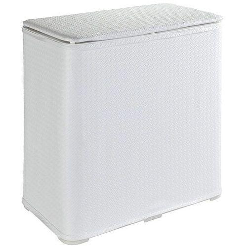 Biały, dekoracyjny kosz na pranie Wanda, o pojemności 65 l, 49x50x27 cm, wykonany z tworzywa sztucznego, z pokrywą, marka WENKO