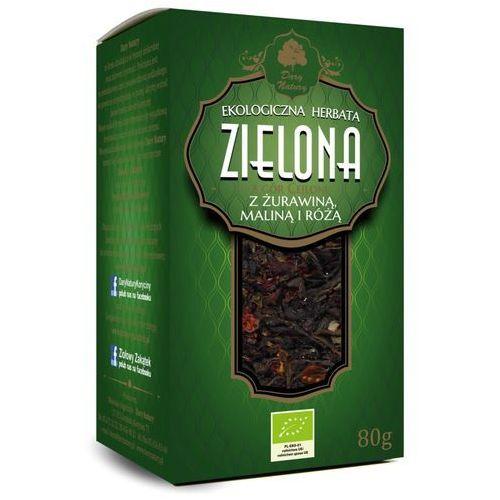 Herbata zielona z żurawiną, maliną i różą liściasta bio 80 g - dary natury marki Dary natury - herbatki bio