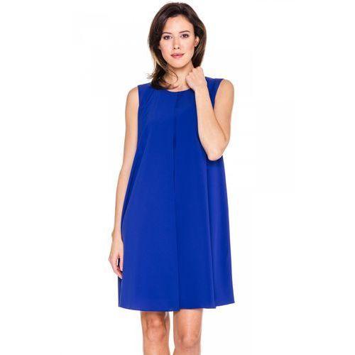 836431869d Szafirowa prosta sukienka - Bialcon 295