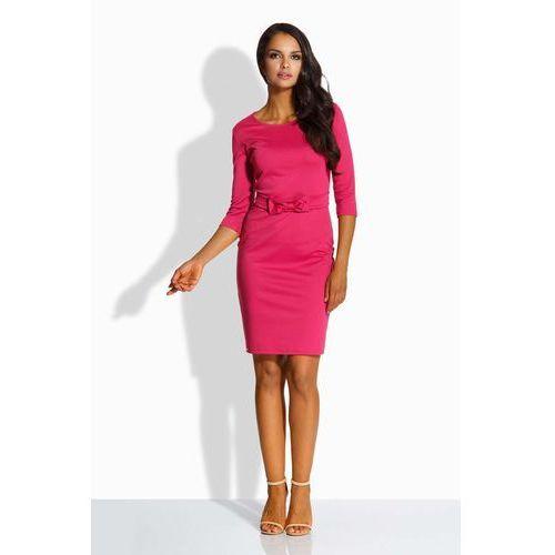 Fuksja sukienka wizytowa ołówkowa z paskiem, Lemoniade, 36-40