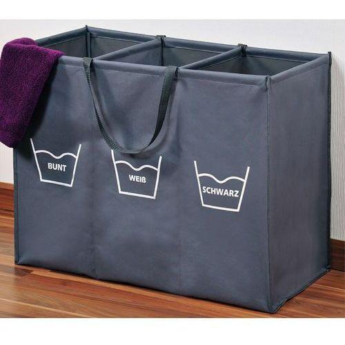 Składany kosz na pranie w kolorze szarym z przegródkami, duży kosz na pranie, kosz na pranie materiałowy, kosz łazienkowy, marki Kesper