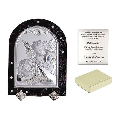 Murrano Obrazek anioł stróż prezent na chrzest grawer pr271