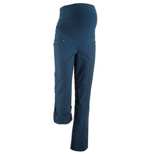 Spodnie ciążowe, proste nogawki z wywinięciem ciemnoniebieski marki Bonprix