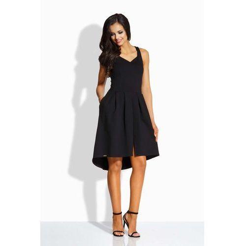Lemoniade Czarna kobieca sukienka na szerokich ramiączkach