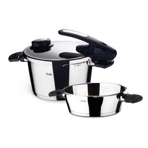 Fissler Vitavit Edition - Szybkowar 4,5 l z dodatkową patelnią 2,5 l i wkładem do gotowania na parze - 4,50 l + 2,50 l