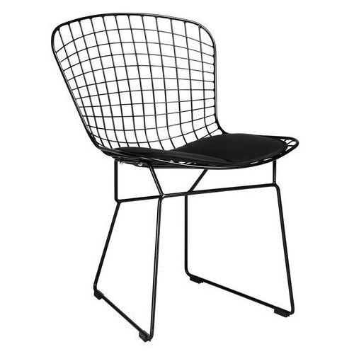 King home Krzesło metalowe net soft czarne - czarny metal, czarna poduszka (5900168810761)