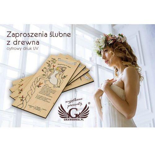 Zaproszenia ślubne z drewna - cyfrowy druk uv - zap001 marki Grawernia.pl - grawerowanie i wycinanie laserem