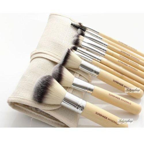LancrOne - SUNSHADE MINERALS - Zestaw 10 pędzli do makijażu + etui z naturalnego lnu